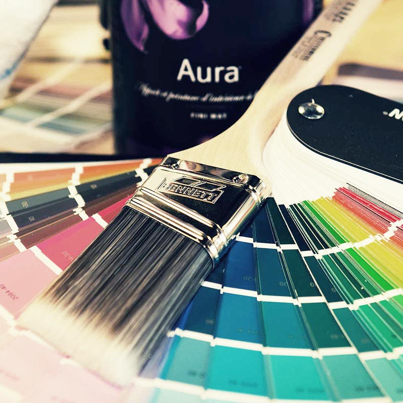 Paint Swatches with paint brush - Airdrie Paint and Decor