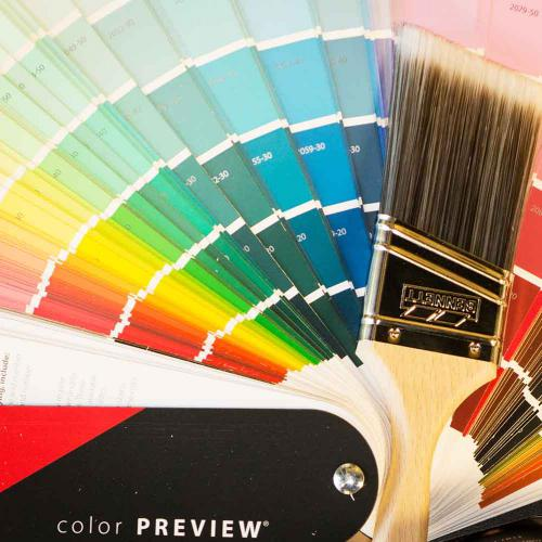 Paint Swatches with paint brush on top - Airdrie Paint and Decor